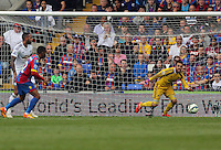 Pictured: Lukasz Fabianski of Swansea (R)<br />