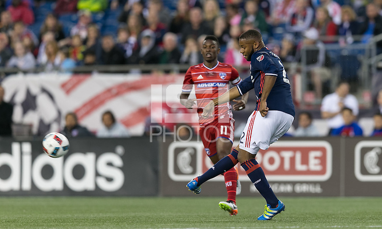 Foxborough, Massachusetts - May 21, 2016: First half action. In a Major League Soccer (MLS) match, the New England Revolution (blue/white) vs FC Dallas (red), 2-2 (halftime), at Gillette Stadium.