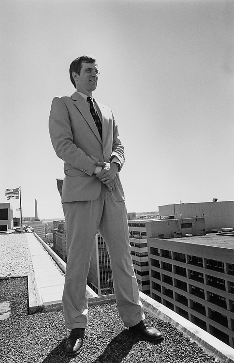 Patrick Merkle on top of the Madison Building. GOP candidate for the Ward 6 City Council seat. (Photo by Maureen Keating/CQ Roll Call via Getty Images)