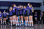 Molly Livingston (22) of the High Point Panthers high fives her teammates during player introductions before the start of the match against the Liberty Flames at the Millis Athletic Center on September 23, 2016 in High Point, North Carolina.  The Panthers defeated the Flames 3-1.   (Brian Westerholt/Sports On Film)