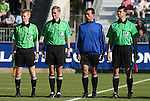 08 November 2009: Referee Bryan Roslund (2nd from left) with the other match officials. The University of North Carolina Tar Heels defeated the Florida State University Seminoles 3-0 at WakeMed Stadium in Cary, North Carolina in the Atlantic Coast Conference Women's Soccer Tournament Championship game.