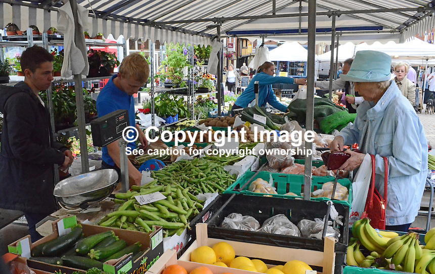 Open-air market, Ludlow, Shropshire, UK, 201407053240<br />