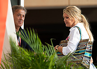 Jean Alesi (L) Corinna Schumacher wife of Michael Schumacher (R) during the Bahrain Grand Prix at Bahrain International Circuit, Sakhir,  on 31 March 2019. Photo by Vince  Mignott.