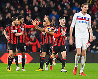 Joshua King of AFC Bournemouth second left is congratulated by Callum Wilson of AFC Bournemouth after scoring to make the score 1-1 during AFC Bournemouth vs Stoke City, Premier League Football at the Vitality Stadium on 3rd February 2018