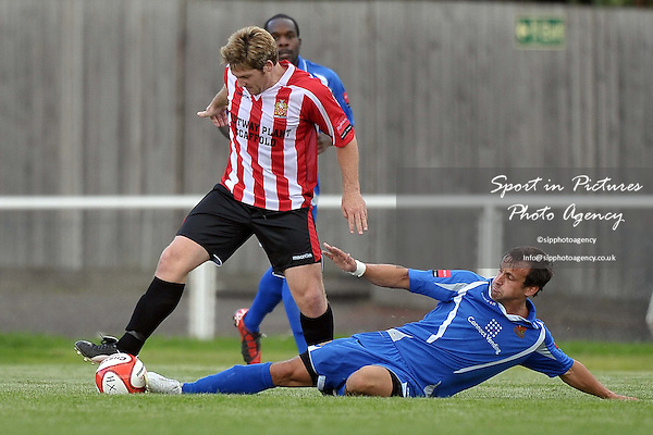 Tommy Black (Hornchurch) is tackled by Peter Dean (Wealdstone). AFC Hornchurch Vs Wealdstone. Ryman Premier League. The Stadium. Essex. 30/08/2010. Mandatory Credit Sportinpictures/Garry Bowden