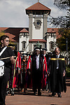 BLOEMFONTEIN, SOUTH AFRICA APRIL 17, 2013: Professor Jonathan Jansen walks with his colleagues to a graduation ceremony with some of his students at the University of the Free State in Bloemfontein, South Africa. Photo by: Per-Anders Pettersson