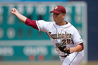 Tyler Everett #28 of the Florida State Seminoles in action versus the Georgia Tech Yellow Jackets at Durham Bulls Athletic Park May 23, 2009 in Durham, North Carolina.  (Photo by Brian Westerholt / Four Seam Images)