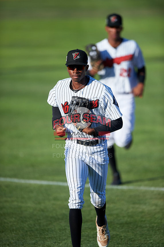 Great Falls Voyagers center fielder Cabera Weaver (7) jogs off the field between innings of a Pioneer League game against the Missoula Osprey at Centene Stadium at Legion Park on August 19, 2019 in Great Falls, Montana. Missoula defeated Great Falls 4-1 in the first game of a doubleheader. Games were moved from Missoula after Ogren Park at Allegiance Field, the Osprey's home field, was ruled unplayable. (Zachary Lucy/Four Seam Images)
