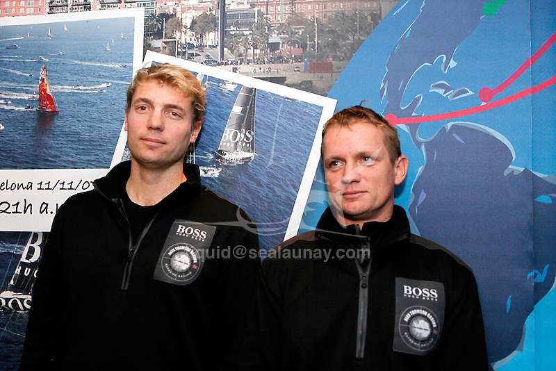 Today his team announced that substitute skipper Wouter Verbraak will sail yacht HUGO BOSS alongside Andy Meiklejohn for the first several days of the race until Alex Thomson has recovered enough to join the boat.  .Alex Thomson and Andy Meiklejohn crew on the IMOCA 60 Hugo Boss design by Juan kouyoumdjian  preparing for the Barcelona World Race..The Barcelona World Race is the first only double-handed (two-crew) regatta around the world. This is a non-stop regatta with some outside assistance permitted, although subject to rules and  penalties.