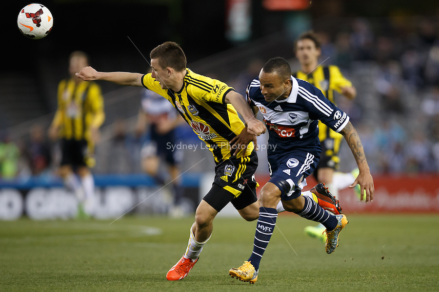 in the round four match between Melbourne Victory and Wellington Phoenix in the Australian Hyundai A-League 2013-24 season at Etihad Stadium, Melbourne, Australia.<br /> This image is not for sale. Please visit zumapress.com for image licensing.