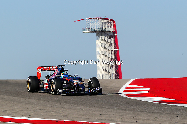 JEAN-ERIC VERGNE (25) driver of the Scuderia Toro Rosso car in action  during the last practice before the Formula 1 United States Grand Prix race at the Circuit of the Americas race track in Austin,Texas.