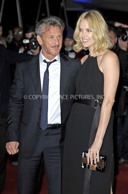 WWW.ACEPIXS.COM<br /> <br /> February 16 2015, New York City<br /> <br /> Sean Penn and Charlize Theron at the world premiere of 'The Gunman' at the BFI Southbank on February 16 2015 in London<br /> <br /> By Line: Famous/ACE Pictures<br /> <br /> <br /> ACE Pictures, Inc.<br /> tel: 646 769 0430<br /> Email: info@acepixs.com<br /> www.acepixs.com