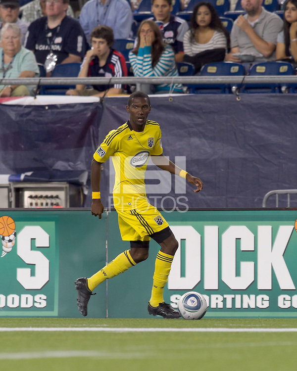 Columbus Crew defender Shaun Francis (29) looks to cross the ball. The New England Revolution tied Columbus Crew, 2-2, at Gillette Stadium on September 25, 2010.