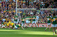 Fantastic save by Kerry keeper Brian Kelly in the dying seconds of the game in the All-Ireland Football Final against Donegal in Croke Park 2014.<br /> Photo: Don MacMonagle<br /> <br /> <br /> Photo: Don MacMonagle <br /> e: info@macmonagle.com