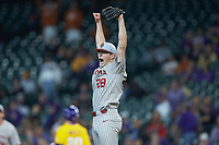 Oklahoma Sooners starting pitcher Dane Acker (28) reacts after the final out in his no-hitter against the LSU Tigers in game seven of the 2020 Shriners Hospitals for Children College Classic at Minute Maid Park on March 1, 2020 in Houston, Texas. The Sooners defeated the Tigers 1-0. (Brian Westerholt/Four Seam Images)