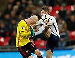 Will Hughes of Watford goes in bravely against Ben Davies of Tottenham during the premier league match at Wembley Stadium, London. Picture date 30th April 2018. Picture credit should read: David Klein/Sportimage