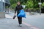 07.07.2020, Trainingsgelaende am wohninvest WESERSTADION,, Bremen, GER, 1.FBL, Werder Bremen - der Tag nach Heidenheim, im Bild<br /> <br /> <br /> <br /> Milos Veljkovic (Werder Bremen #13)<br /> mit Muellsack<br /> <br /> Foto © nordphoto / Kokenge