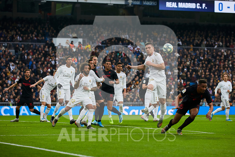 Luka Jovic of Real Madrid during La Liga match between Real Madrid and Sevilla FC at Santiago Bernabeu Stadium in Madrid, Spain. January 18, 2020. (ALTERPHOTOS/A. Perez Meca)