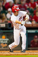 John Cannon #37 of the Houston Cougars pops up a bunt attempt against the Arkansas Razorbacks at Minute Maid Park on March 3, 2012 in Houston, Texas.  The Cougars defeated the Razorbacks 4-1.  Brian Westerholt / Four Seam Images