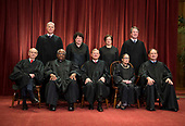 The Supreme Court Justices pose for their official group portrait in the Supreme Court on November 30, 2018 in Washington, D.C. Seated from left: Associate Justice Stephen Breyer, Associate Justice Clarence Thomas, Chief Justice John G. Roberts, Associate Justice Ruth Bader Ginsburg and Associate Justice Samuel Alito, Jr. Standing behind from left: Associate Justice Neil Gorsuch, Associate Justice Sonia Sotomayor, Associate Justice Elena Kagan and Associate Justice Brett M. Kavanaugh. <br /> Credit: Kevin Dietsch / Pool via CNP