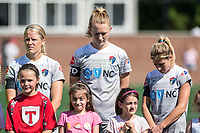Boston, MA - Saturday June 24, 2017: Makenzy Doniak, Samantha Mewis and McCall Zerboni during a moment of silence for Tony DiCicco during a regular season National Women's Soccer League (NWSL) match between the Boston Breakers and the North Carolina Courage at Jordan Field.