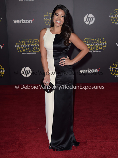 Gina Rodriguez<br />  at Star Wars: The Force Awakens World Premiere held at El Capitan Theatre in Hollywood, California on December  14,2015                                                                   Copyright 2015Hollywood Press Agency