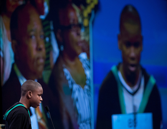 Speller 89 Gifton Samuel Wright correctly spells his second word in the semi-final rounds of the Scripps National Spelling Bee at the Gaylord National Resort and Convention Center in Oxon Hill, Md., on Thursday,  May 31, 2012. Photo by Bill Clark