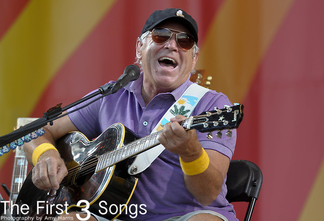 Jimmy Buffett performs during the New Orleans Jazz & Heritage Festival in New Orleans, LA on May 3, 2012.