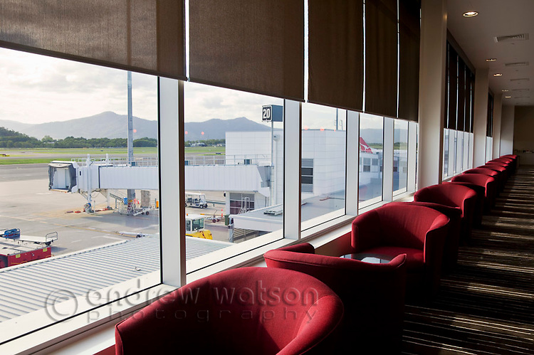 Qantas Club Lounge at Cairns Domestic Airport.  Cairns, Queensland, Australia