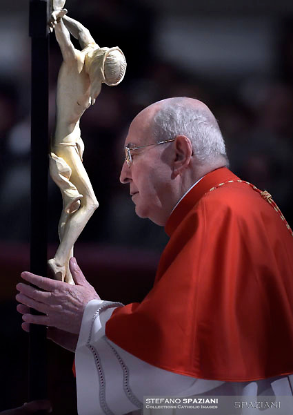 Cardinal Agostino Vallini,Pope Francis the ceremony of the Good Friday Passion of the Lord Mass in Saint Peter's Basilica at the Vatican.March 30, 2018