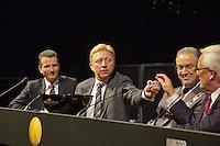 09-02-13, Tennis, Rotterdam, qualification ABNAMROWTT, Draw,l.t.r. tournament director Richard Krajicek, Boris Becker and Mr. Aboutaleb major of Rotterdam