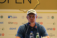 Justin Rose (ENG) press conference during Wednesday's Pro-Am of the 2018 Turkish Airlines Open hosted by Regnum Carya Golf &amp; Spa Resort, Antalya, Turkey. 31st October 2018.<br /> Picture: Eoin Clarke | Golffile<br /> <br /> <br /> All photos usage must carry mandatory copyright credit (&copy; Golffile | Eoin Clarke)