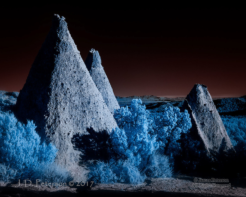 Obelisks, Kasha-Katuwe Tent Rocks National Monument (Infrared) &copy;2017 James D Peterson.  To challenge our complacency about the planet that sustains us, Mother Earth occasionally shares her visions from other worlds.  This one is near the Cochiti Pueblo in New Mexico.<br />