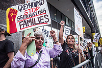 NEW YORK, USA - August 23 : A general view of a protest to demand Greyhound collaboration with ICE on August 23, 2019 in New York, USA.<br /> Everyday across the U.S., ICE, DHS and Border Patrol agents board buses with Greyhound's permission and attempt to detain migrants. Demonstrators at the Port Authority bus terminal demand Greyhound to end all collaboration with ICE and Border Patrol. <br /> (Photo by Luis Boza/VIEWpress)