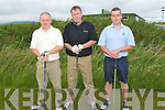 Par four: On the 1st teebox for the Castlegregory golf club captains prize on Sunday were l-r: John Harty, Joe Horgan and Pat Doody.   Copyright Kerry's Eye 2008