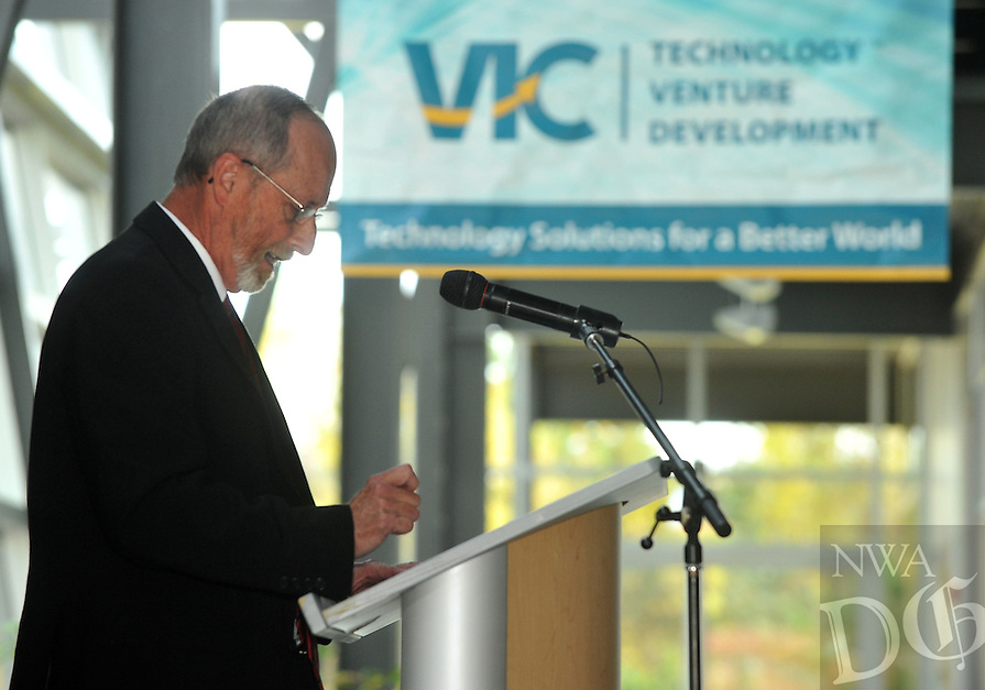 NWA Media/Michael Woods --10/30/2014-- w @NWAMICHAELW...Fayetteville mayor Lioneld Jordan reads a proclamation during the official remarks at the 10th Anniversary celebration of the Arkansas Research and Technology Park in Fayetteville.  The research park includes the GENESIS Technology Incubator, the Innovation Center, Enterprise Center and other facilities to support the innovation and flow of technology.