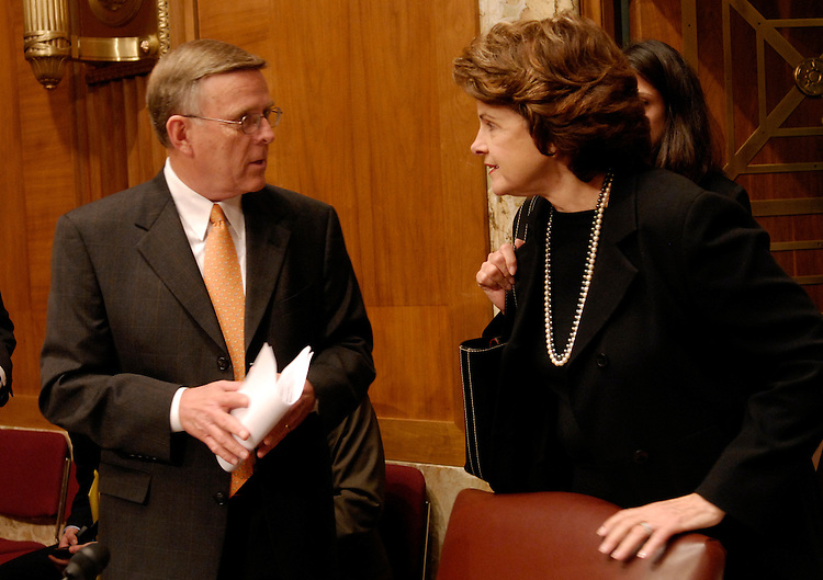 Sen. Byron Dorgan, D-ND; and Sen. Dianne Feinstein, D-Ca. talk before a Senate Democratic Policy Committee hearing on gasoline prices and energy trading..