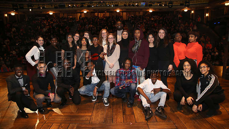 """High School Student Performers during The Rockefeller Foundation and The Gilder Lehrman Institute of American History sponsored High School student #eduHam matinee performance of """"Hamilton"""" Q & A at the Richard Rodgers Theatre on December 5,, 2018 in New York City."""