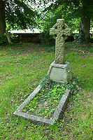 Celtic cross on grave for Elizabeth and George Winship in graveyard of St Mary the Virgin Church, Harefield, Middlesex, UK