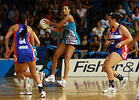20.03.2010 Thunderbirds Geva Mentor in action during the ANZ Champs Netball match between the Mystics and Thunderbirds at Trusts Stadium in Auckland. Mandatory Photo Credit ©Michael Bradley.