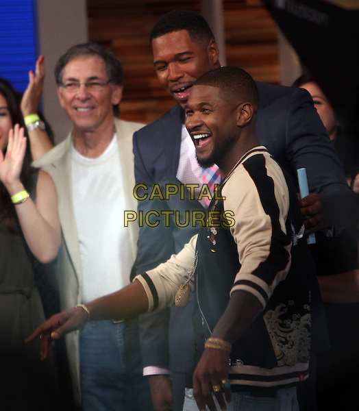 NEW YORK, NY-September 06: Usher, Michael Strahan first day co-hosting Good Morning America in New York. NY September 06, 2016. <br /> CAP/MPI/RW<br /> &copy;RW/MPI/Capital Pictures