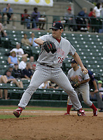 August 15, 2004:  Relief pitcher Jim Crowell (75) of the Scranton-Wilkes Barre Red Barons, Class-AAA International League affiliate of the Philadelphia Phillies, during a game at Frontier Field in Rochester, NY.  Photo by:  Mike Janes/Four Seam Images