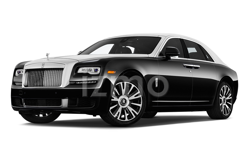 Stock pictures of low aggressive front three quarter view of a 2019 Rollsroyce ghostsd1ra Base 4 Door Sedan