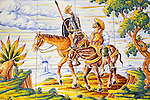 Tile Design of Don Quixote and Sancho Panza from Miguel Cervantes' book, Toledo, Castile La Mancha, Spain