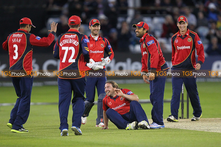 Tom Jewell is trapped lbw by Graham Napier, his third wicket of four in four balls and Napier celebrates with his team mates - Essex Eagles vs Surrey Lions - Yorkshire Bank YB40 Cricket at the Essex County Ground, Chelmsford - 03/06/13 - MANDATORY CREDIT: Gavin Ellis/TGSPHOTO - Self billing applies where appropriate - 0845 094 6026 - contact@tgsphoto.co.uk - NO UNPAID USE