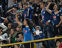 BOGOTÁ - COLOMBIA, 11-01-2019: Hinchas de Millonarios, animan a su equipo, durante partido entre Millonarios y Atlético Nacional, por el Torneo Fox Sports 2019, jugado en el estadio Nemesio Camacho El Campin de la ciudad de Bogotá. / Fans America de Cali, cheer for their team during a match between Millonarios y Atletico Nacional, for the Fox Sports Tournament 2019, played at the Nemesio Camacho El Campin stadium in the city of Bogota. Photo: VizzorImage / Luis Ramírez / Staff.