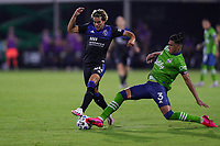 10th July 2020, Orlando, Florida, USA;  San Jose Earthquakes forward Cade Cowell (44) and Seattle Sounders defender Xavier Arreaga (3) go for the ball during the soccer match between the Seattle Sounders and the San Jose Earthquakes on July 10, 2020, at ESPN Wide World of Sports Complex in Orlando, FL.