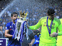 Chelsea forward Diego Costa (19) and Chelsea goalkeeper Thibaut Courtois (13) celebrate the premier league win with trophy during the Premier League match between Chelsea and Sunderland at Stamford Bridge on May 21st 2017 in London, England. <br /> Festeggiamenti Chelsea vittoria Premier League <br /> Foto Leila Cocker/PhcImages/Panoramic/Insidefoto