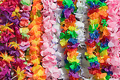 Hawaiian style leis made of artificial flowers