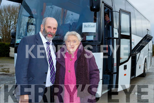 Margaret Sheehan Kilduff, Ballymac with Danny Healy Rae TD before they headed to Belfast for her cataract operation on Saturday morning